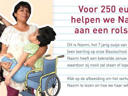 Voor 250 euro helpen we Naomi aan een rolstoel